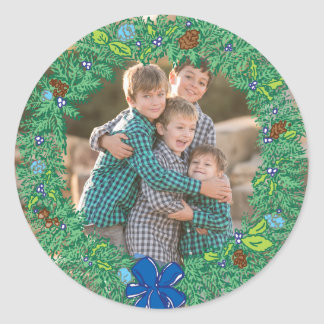 Photo Holiday Sticker: Round Hanukkah Wreath Frame Round Sticker