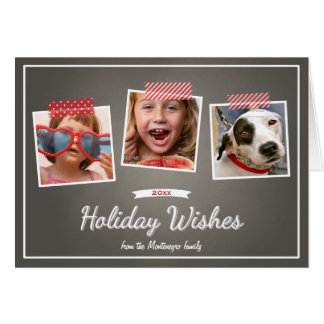 Photo Holiday Wishes Christmas Chalkboard Folded Greeting Card