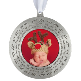 Photo Keepsake Christmas Ornament Joy Love Peace Round Pewter Christmas Ornament