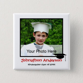 Photo Kindergarten Graduation Announcement 2 Inch Square Button