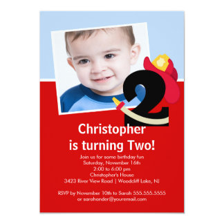 """Photo Little Firefighter Boy 2nd Birthday Party 5"""" X 7"""" Invitation Card"""