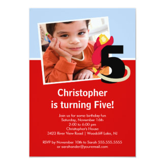 Photo Little Firefighter Boy Fifth Birthday Party Custom Announcement