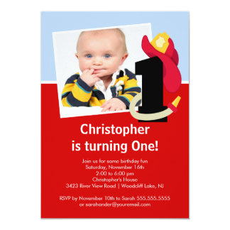 """Photo Little Firefighter Boy First Birthday Party 5"""" X 7"""" Invitation Card"""