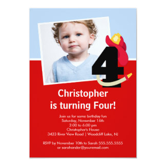 Photo Little Firefighter Boy Fourth Birthday Party Custom Invites