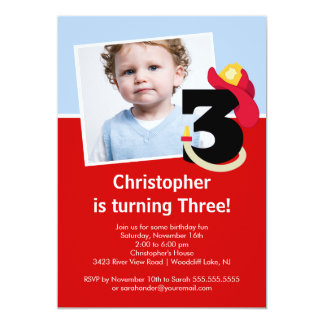 Photo Little Firefighter Boy Third Birthday Party Custom Announcements