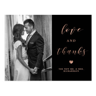 Photo Love and Thanks | Faux Rose Gold and Black Postcard