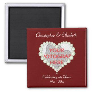 Photo Love Heart Diamond Anniversary Memento Magnet
