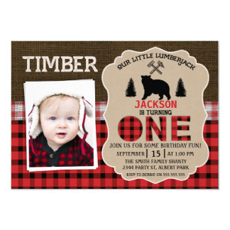 Photo Lumberjack  Burlap 1st Birthday Invitation