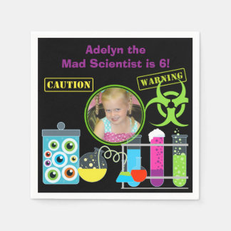 Photo Mad Scientist Birthday Paper Napkins