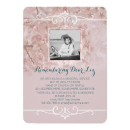 Death anniversary gifts on zazzle ca photo memorial service dusty pink cherry blossoms card stopboris Gallery