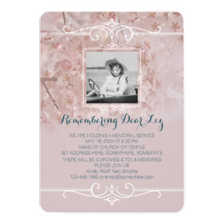 Photo Memorial Service Dusty Pink Cherry Blossoms Card  Memorial Service Invitation Wording
