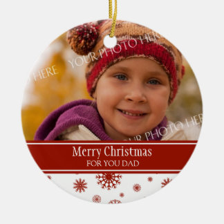 Photo Merry Christmas Dad Ornament Red