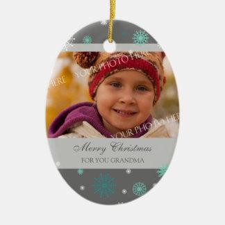 Photo Merry Christmas Grandma Ornament Aqua Grey