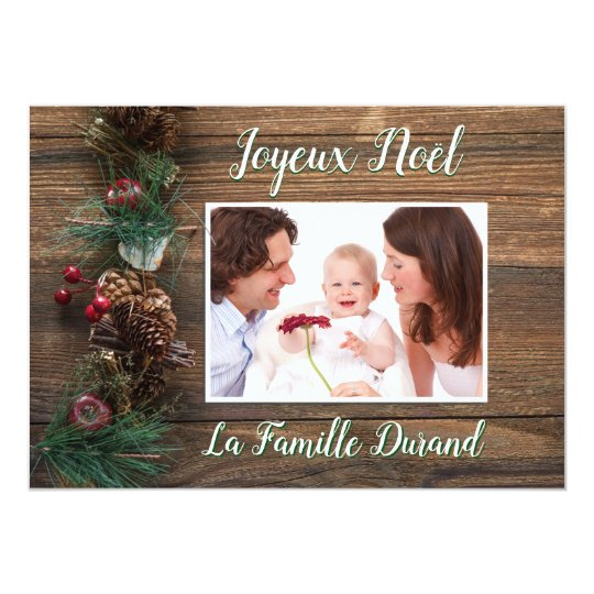 Photo Merry Christmas Personalized and Fund Rustic Card