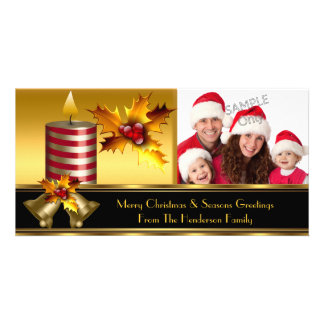 Photo Merry Christmas Season Greetings Family Picture Card