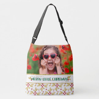Photo Merry Little Christmas Gold Green Watercolor Crossbody Bag