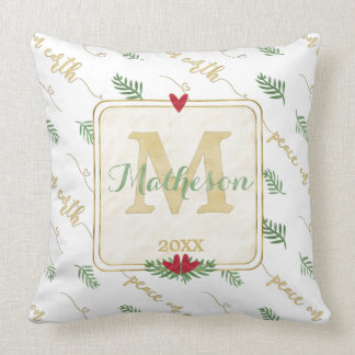Photo + Monogram Gold Typography Peace on Earth Throw Pillow