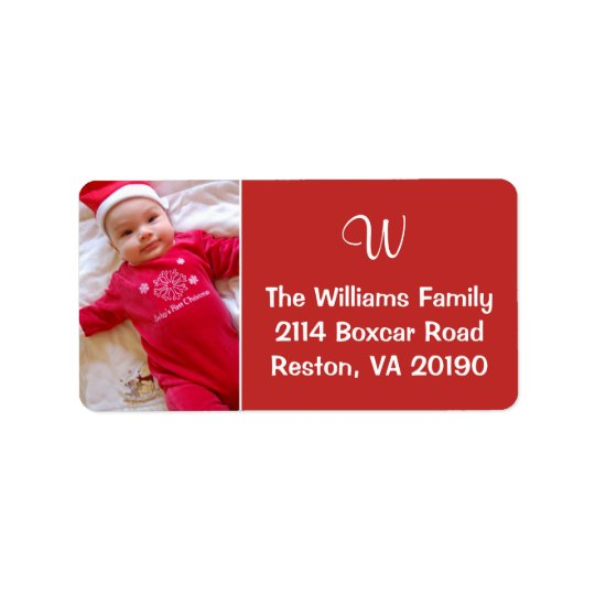 Photo Monogram Labels - Red