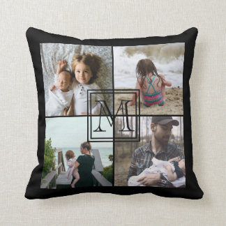 Photo monogramed collage throw pillow