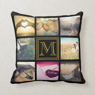 Photo monogramed gift throw pillow