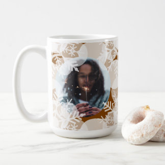 Photo Mug - Holidayz - Brown & White Snow Stars