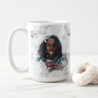 Photo Mug - Holidayz - Grey & White Snow Stars