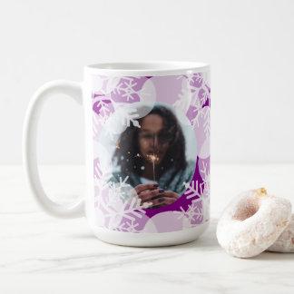 Photo Mug - Holidayz - Purple & White Snow Stars