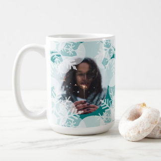 Photo Mug - Holidayz - Teal & White Snow Stars