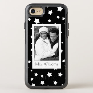 Photo & Name Black and white stars pattern OtterBox Symmetry iPhone 7 Case