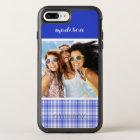 Photo & Name Blue White Plaid 2 OtterBox Symmetry iPhone 8 Plus/7 Plus Case