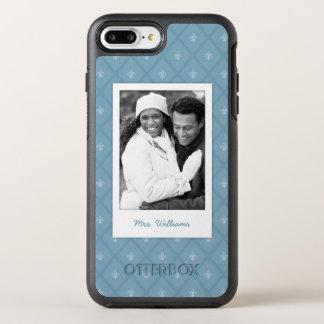 Photo & Name Fleur-de-lis pattern OtterBox Symmetry iPhone 7 Plus Case