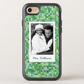 Photo & Name irregular green pattern OtterBox Symmetry iPhone 8/7 Case