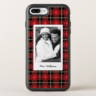 Photo & Name Red Plaid Background OtterBox Symmetry iPhone 7 Plus Case