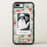 Photo & Name Valentine heart and moustache OtterBox Symmetry iPhone 7 Plus Case