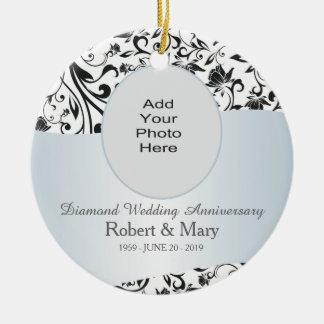 Photo noire d'anniversaire de mariage de diamant décoration de noël