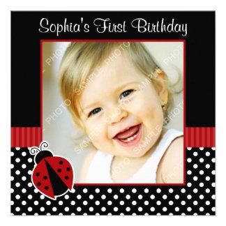 Photo noire rouge d'anniversaire de point de polka faire-part personnalisé