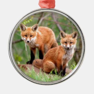 Photo of adorable red fox kits metal ornament