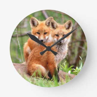 Photo of adorable red fox kits sitting together round clock