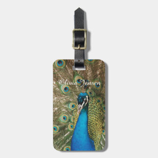 Photo of Beautiful Peacock with Spread Feathers Luggage Tag