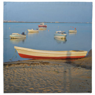 Photo of boats in bay at sunset in Portugal Napkin