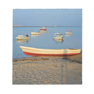 Photo of boats in bay at sunset in Portugal Notepad