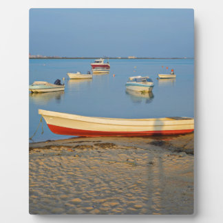 Photo of boats in bay at sunset in Portugal Plaque