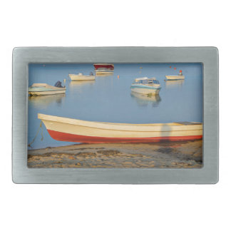 Photo of boats in bay at sunset in Portugal Rectangular Belt Buckle