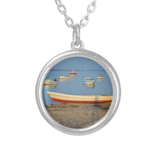 Photo of boats in bay at sunset in Portugal Silver Plated Necklace