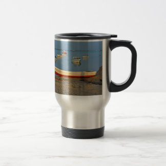 Photo of boats in bay at sunset in Portugal Travel Mug