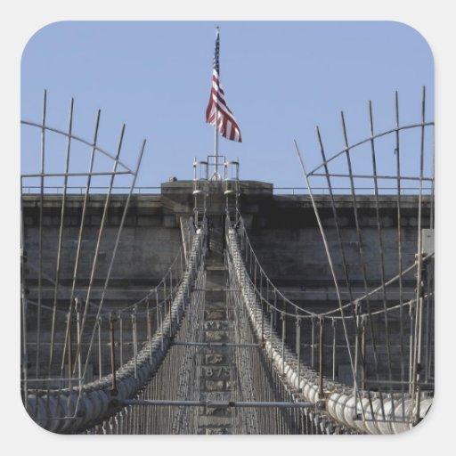 Photo of Brooklyn Bridge, New York City Square Sticker