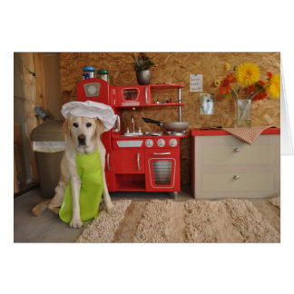 Photo of dog with chef's hat on card