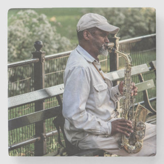 Photo of New York City Street Sax Player Stone Coaster