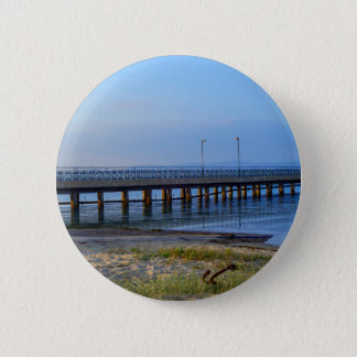 Photo of pier in sunset with anchor 2 inch round button