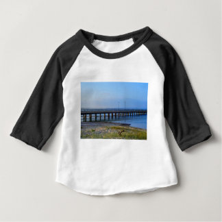 Photo of pier in sunset with anchor baby T-Shirt